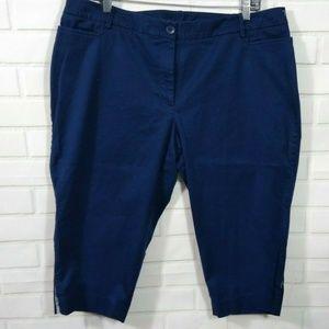 Talbots Capri Pants 18W The Perfect Skimmer Blue